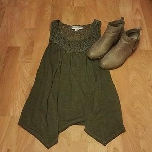 Knox Rose Olive Boho Tank with Crocheted Neckline